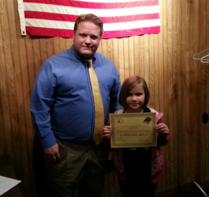 Chancellor Matt Herrick with 4th Grade Spelling Bee 1st Place Winner Mara Whitehead January 14, 2016.