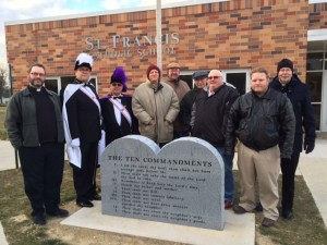 Dedication of Ten Commandments monument at St. Francis School on Dec 18, 2015. Msgr. Jim Miller drove in from Dubuque for the ceremony.